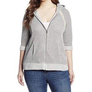 Lucky Brand Crochet Zip Gray Knit Comfy Hoodie 2X